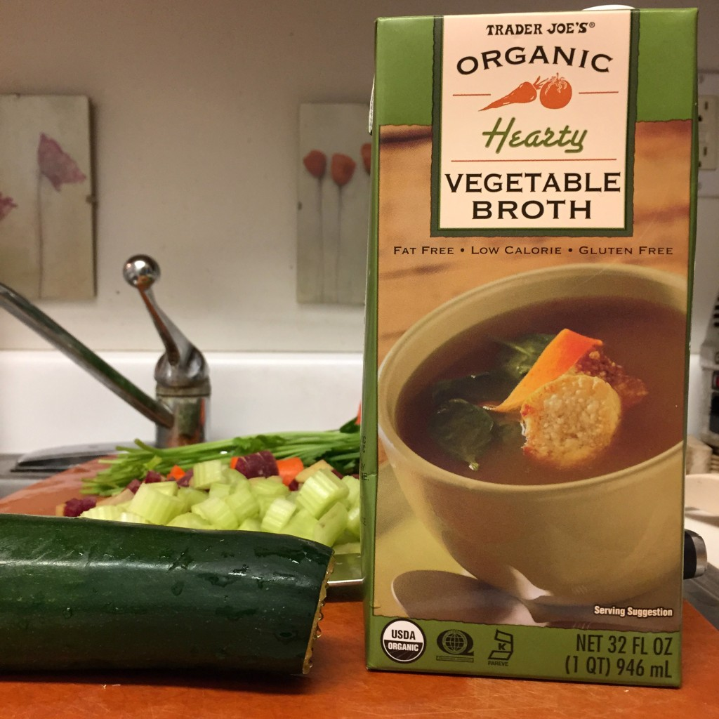 Great option for a quick veggie broth.  I combined half bone broth and half veggie broth.